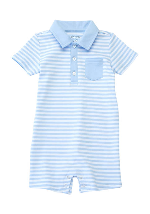 Crown & Ivy™ Baby Boys Knit Polo Romper