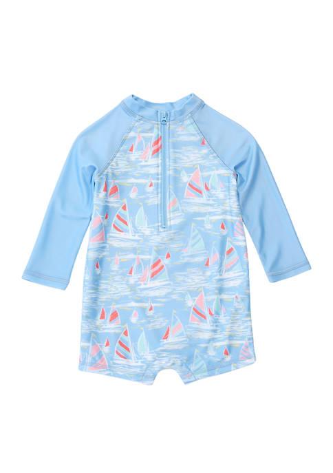 Baby Boys Printed Swim Romper