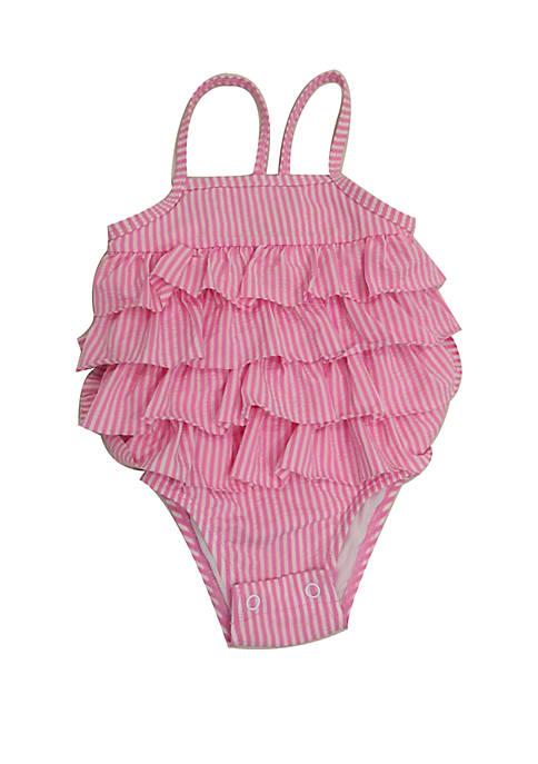 Crown & Ivy™ Baby Girls Pink Seersucker One