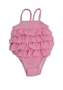 Crown & Ivy™ Baby Girls Pink Seersucker One Piece Swimsuit
