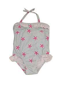 Crown & Ivy™ Baby Girls Starfish Print One Piece Swimsuit
