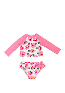 Crown & Ivy™ Baby Girls Floral Rash Guard