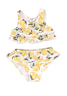 Crown & Ivy™ Baby Girls Lemon Print 2 Piece Swimsuit