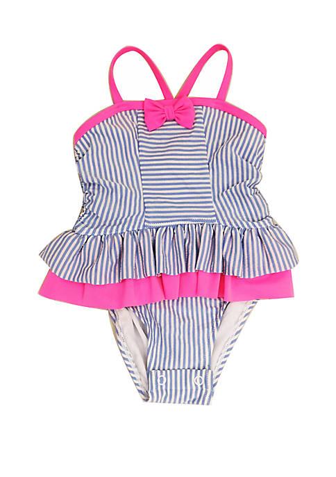 Baby Girls Blue Seersucker One Piece Swimsuit