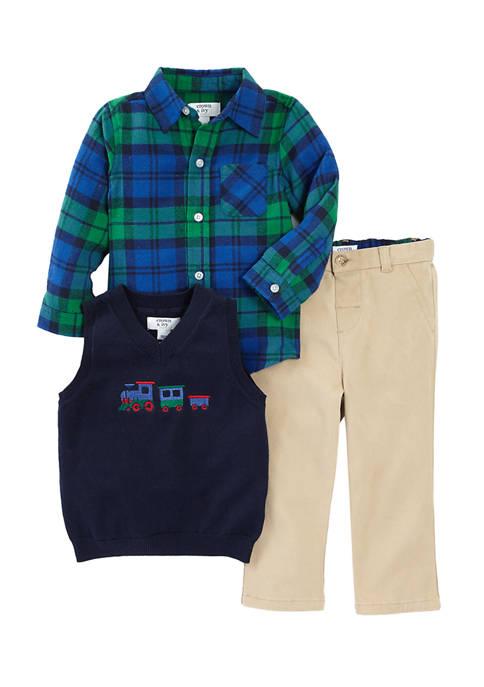Crown & Ivy™ Baby Boys 3 Piece Plaid