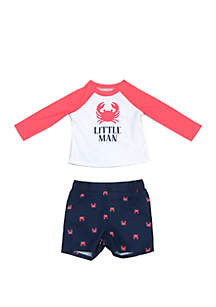 Crown & Ivy™ Baby Boys Crab Rash Guard Swim Set