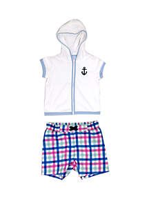 Crown & Ivy™ Baby Boys Plaid Cover Up