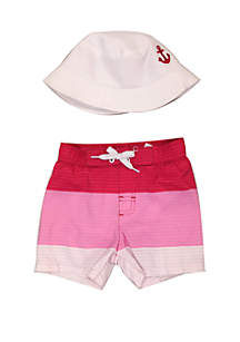 Crown & Ivy™ Baby Boys Swim Shorts with Hat