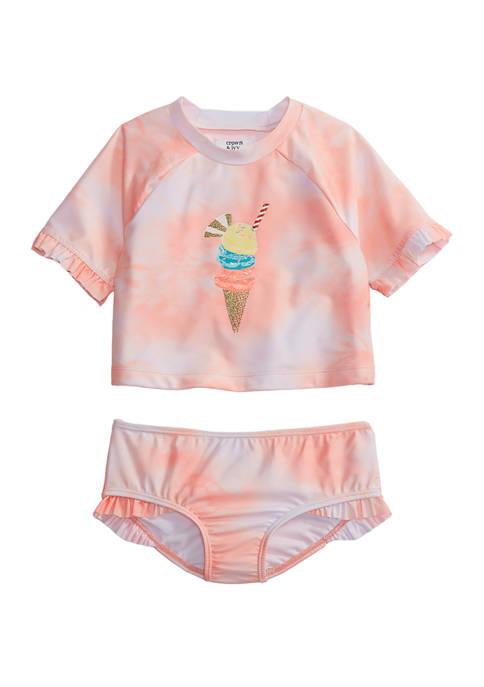 Toddler Girls Tie Dye Ice Cream Rash Guard Set