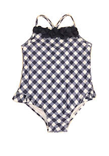 Crown & Ivy™ Toddler Girls Gingham One Piece Swimsuit