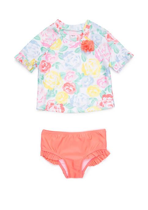 Crown & Ivy™ Toddler Girls Floral Rash Guard