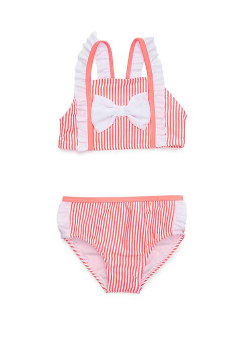 Toddler Girls Seersucker Bow 2 Piece Bikini Swim Set