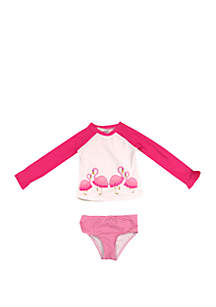 Crown & Ivy™ Toddler Girls Flamingo Rash Guard Set