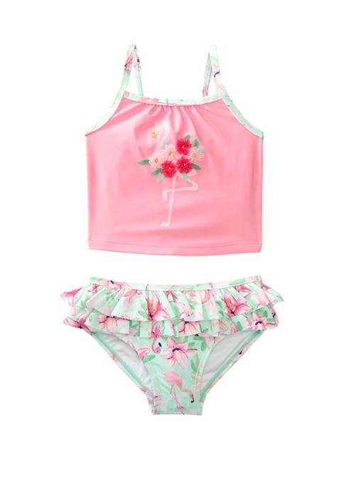Crown & Ivy™ Toddler Girls 2-Piece Flamingo Swimsuit