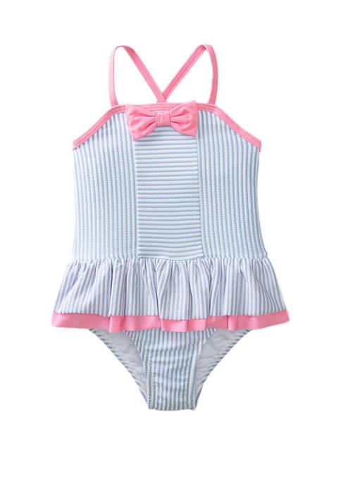 Crown & Ivy™ Toddler Girls Blue Seersucker One