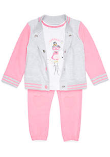 Baby Girls Bomber Jacket 3-Piece Set