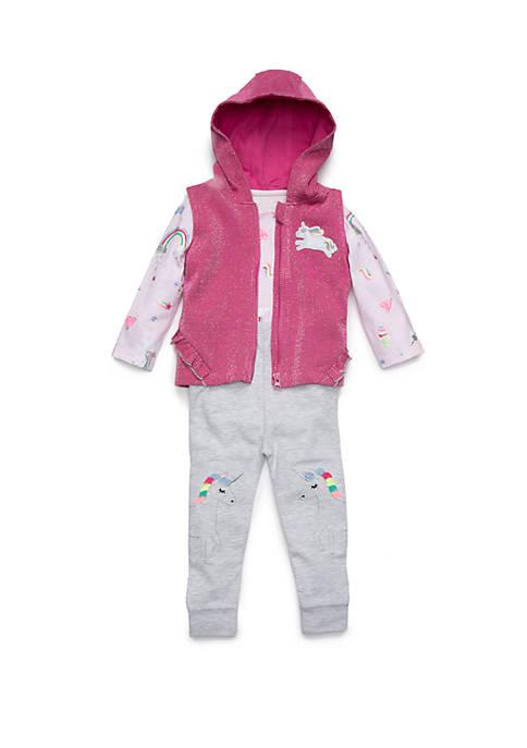 Lightning Bug Baby Girls Ruffle Vest Set