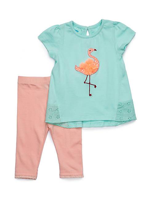 Baby Girls Pieced Eyelet Tunic Set