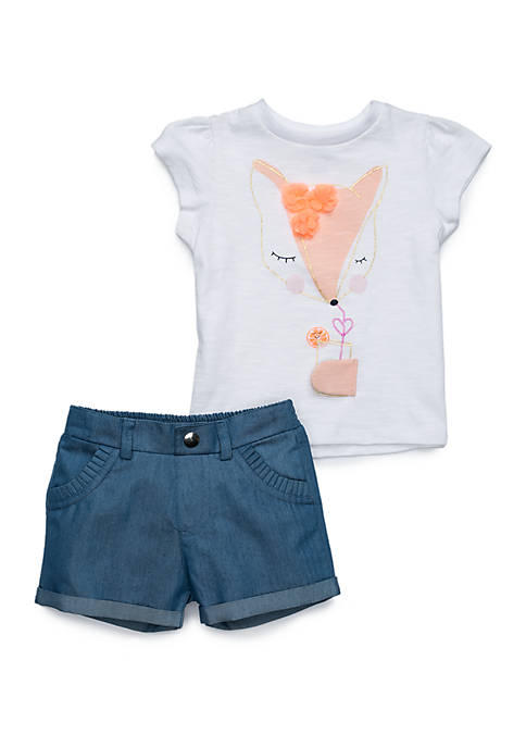 Lightning Bug Baby Girls Tee and Denim Short