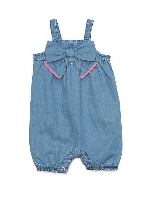 Baby Girls Bow Front Chambray Romper