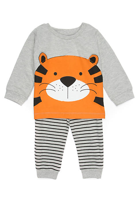 Lightning Bug Baby Boys Tiger Tee Set