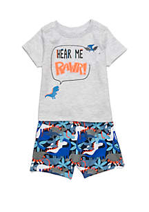 Lightning Bug Baby Boys Pocket Tee and Knit Short Set