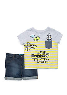 Lightning Bug Baby Boys Pocket Tee and Denim Shorts Set