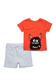 Lightning Bug Baby Boys Tee and Shorts 2-Piece Set