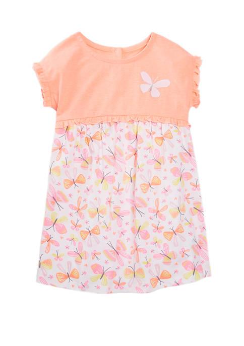 Lightning Bug Toddler Girls Ruffle Trim Empire Dress