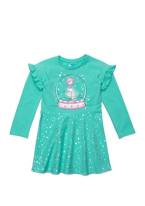 Lightning Bug Toddler Girls Ruffle Sleeve Skater Dress