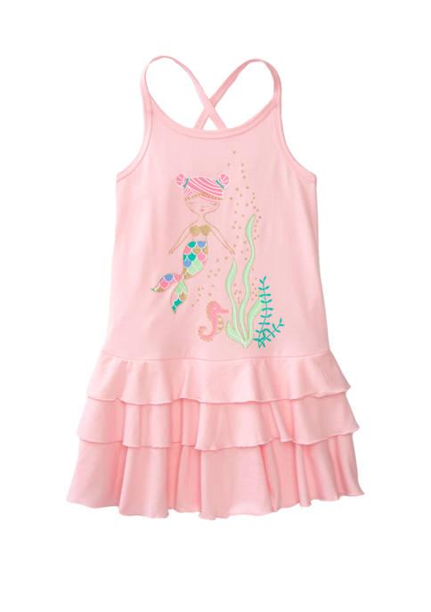 Lightning Bug Toddler Girls Flounce Hem Graphic Dress