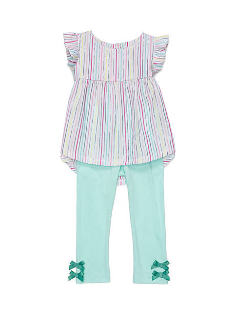 Lightning Bug Toddler Girls Woven Tunic Top Set