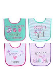 Crown & Ivy™ Baby Girls Slogan Bibs