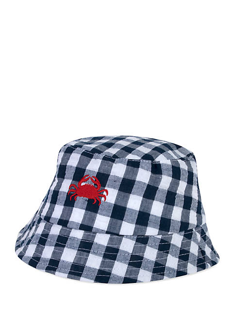 Baby Boys Gingham Crab Bucket Hat
