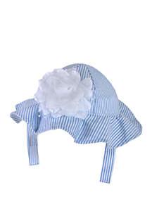 Crown & Ivy™ Baby Girls Seersucker Mesh Flower Floppy Hat