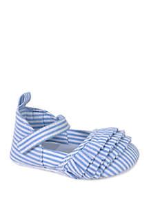 Crown & Ivy™ Baby Girls Seersucker Ruffle Shoes