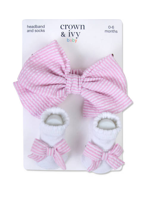Crown & Ivy™ Baby Girls Pink Seersucker Bow