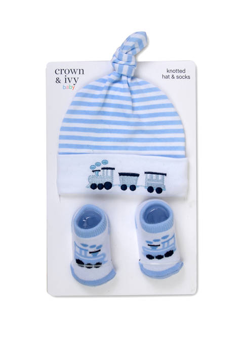 Crown & Ivy™ Baby Boys Train Hat and