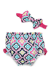 Baby Girls Headband and Diaper Cover Set