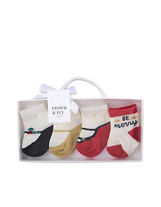Crown /& Ivy Baby Girls Set of 4 Socks