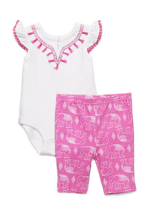 Crown & Ivy™ Girls Infant Tassle Body Suit