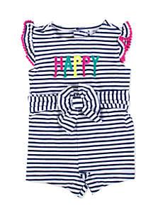 Striped Romper- Infant Girls