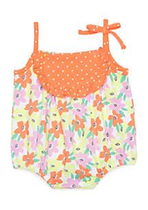 Infant Girls Floral Print Jersey Sunsuit