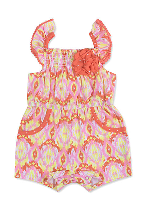 Crown & Ivy™ Ikat Jersey Romper Infant Girls