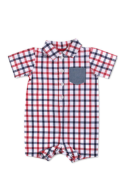 Crown & Ivy™ Woven Plain Romper Infant Boys