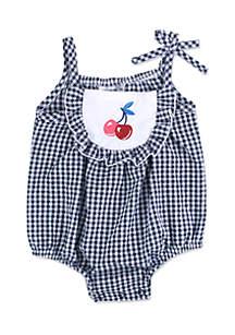 Seersucker Cherry Sunsuit Infant Girls