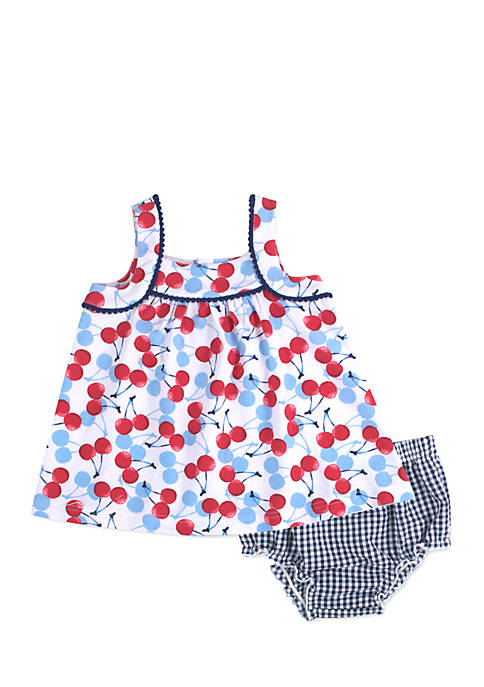 Crown & Ivy™ Infant Girls Cherry Seersucker Dress