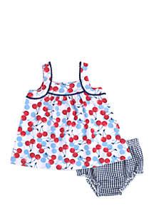 Infant Girls Cherry Seersucker Dress Set
