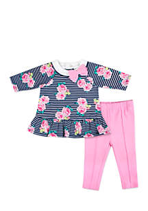 Infant Girls Stripe Floral Legging Set