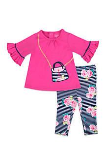 Infant Girls Pink Purse Legging Set